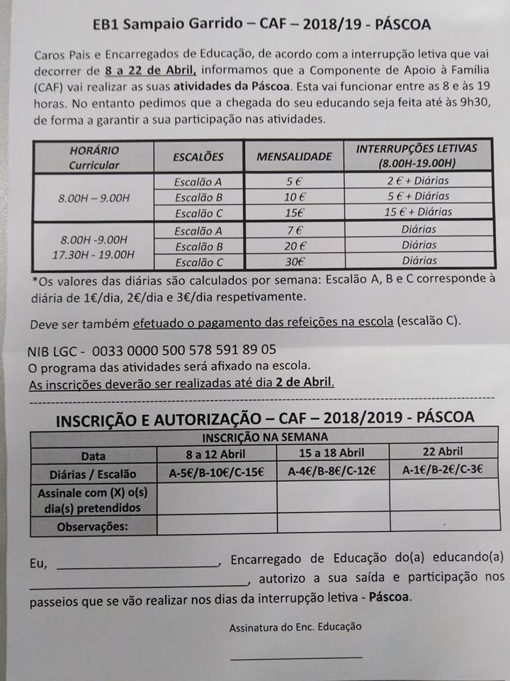 caf pascoa 2019